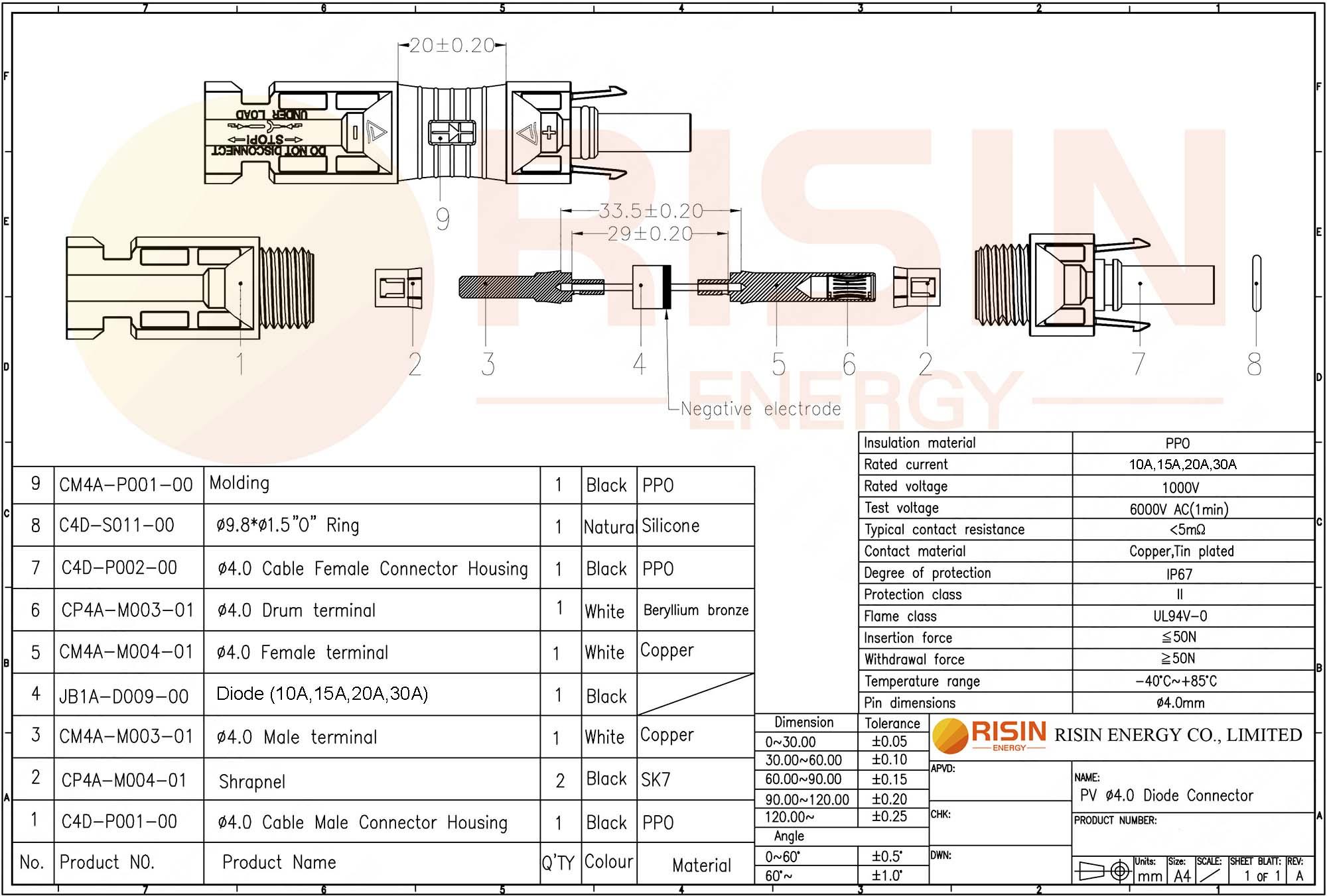 Datasheet of diode MC4 Connector